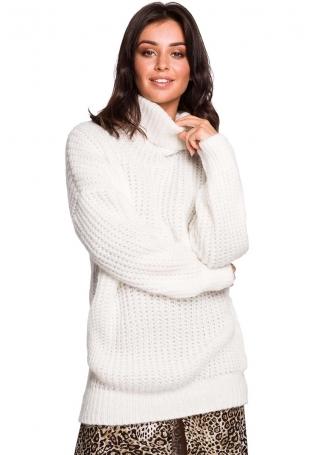 Biały Oversizowy Sweter-Tunika z Golfem
