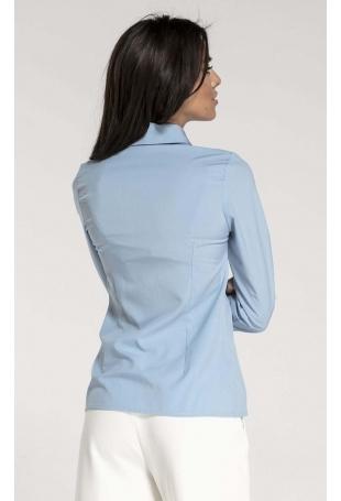 Błękitna Taliowana Koszula Damska