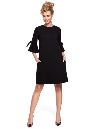 Czarna Sukienka Trapezowa z Rozkloszowanymi Rękawami