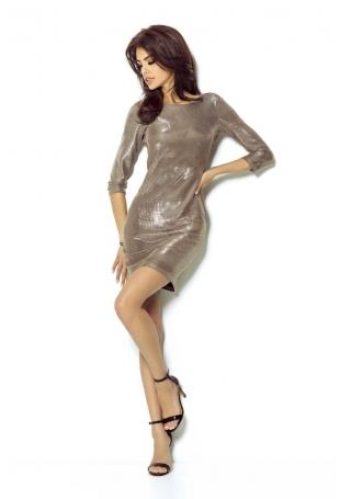 Złota Sukienka Wieczorowa Błyszcząca z Dekoltem na Plecach