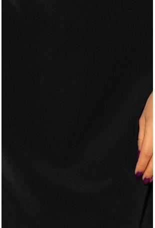 Czarna Sukienka z Kokardkami i Paskiem