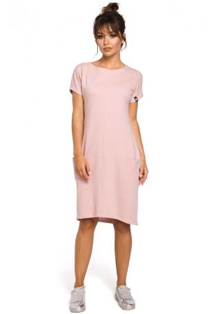 Dresowa Pudrowa Sukienka Mini z Kieszeniami w Szwach
