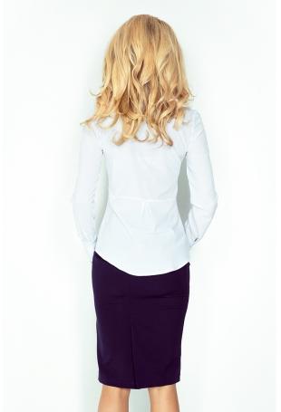 Biała Elegancka Koszula z Baskinką