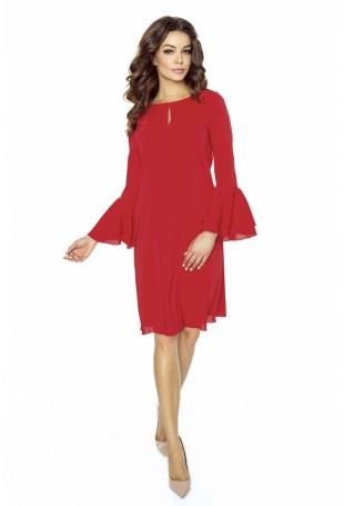 Czerwona Sukienka Koktajlowa z Rozkloszowanym Rękawem