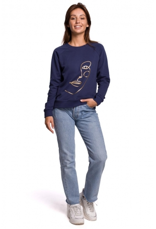 Klasyczna Bluza Dresowa z Nadrukiem - Niebieska