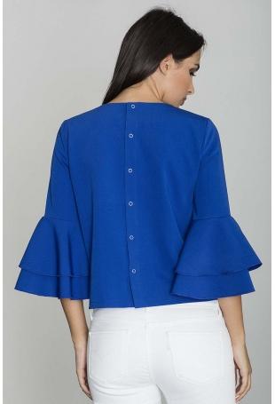 Niebieska Krótka Bluzka z Rozkloszowanymi Rękawami
