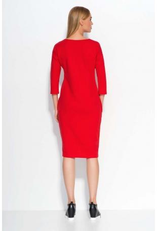 Czerwona Sukienka Dzianinowa Midi z Wsuwanymi Kieszeniami