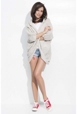 Beżowy Sweter Narzutka z Kapturem