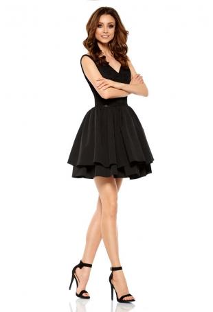 Czarna Wieczorowa Sukienka z Koronką z Rozkloszowanym Dołem