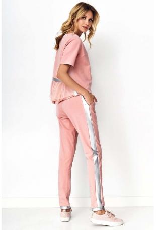 Pudrowy Komplet Dresowy Bluzka z Koronką i Spodnie z Lampasami