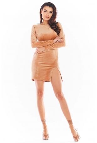 Ołówkowa Mini Sukienka Welurowa z Rozporkiem - Bezowa