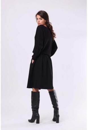 Czarna spódnica z Koła z Kieszeniami