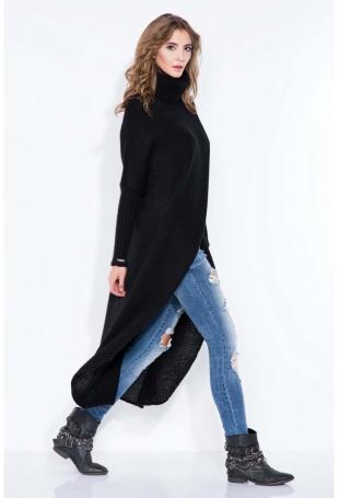 Czarny Sweter Długi z Golfem