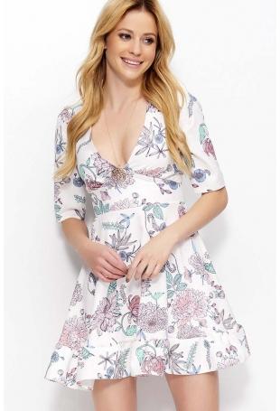Ecru Sukienka w Kwiaty z Głębokim Dekoltem