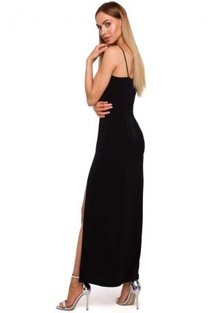 Czarna Maxi Sukienka na Ramiączkach z Połyskiem