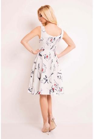 Ecru Sukienka Princeska z Kwiatowym Wzorem