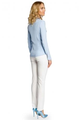 Błękitna Klasyczna Koszula z Długim Rękawem z Kontrastową Plisą