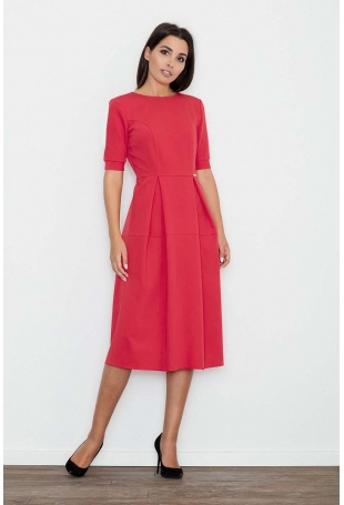 Czerwona Sukienka Elegancka Wizytowa Midi