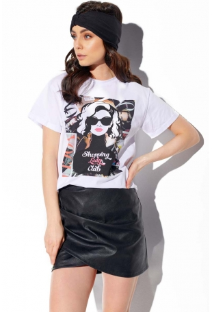 Biała Bawełniany T-shirt z Nadrukiem