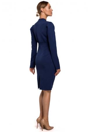 Ołówkowa Sukienka z Marszczeniem na Spódnicy - Granatowa