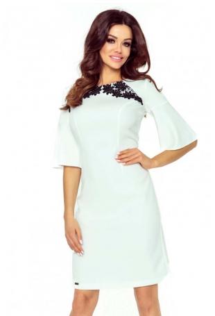 Ecru Sukienka z Koronką z Kloszowanym Rękawem