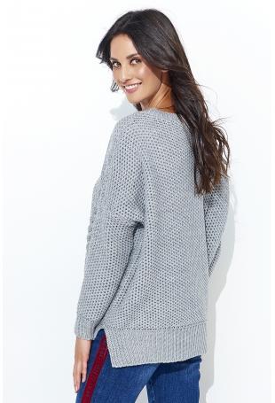 Szary Ażurowy Sweter Oversize z Warkoczami