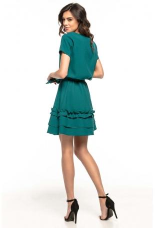 Szmaragdowa Rozkloszowana Sukienka z Falbankami