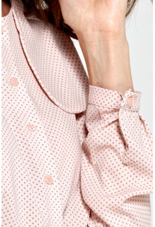 Różowa Bluzka Elegancka Koszulowa z Klapą