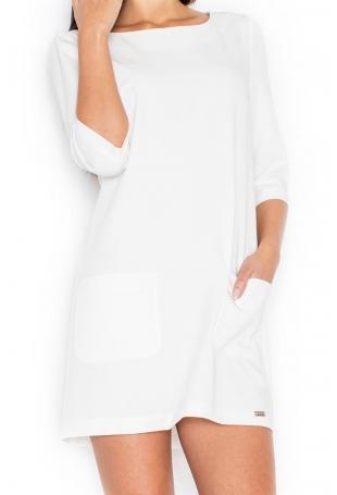 Ecru Trapezowa Sukienka z Nakładanymi Kieszeniami
