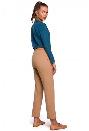 Dzianinowe Spodnie Typu Joggers- cappuccino