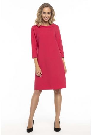 Trapezowa Czerwona Sukienka z Kołnierzykiem JACKIE KENNEDY