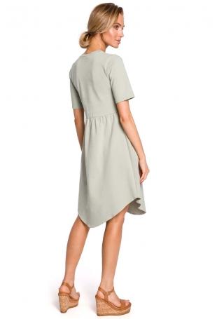 Pistacjowa Rozkloszowana Asymetryczna Sukienka z Ozdobnymi Guzikami