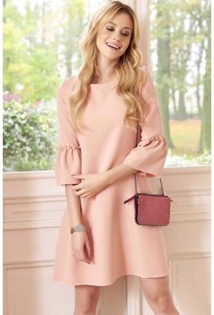 Różowa Sukienka Trapezowa Mini z Marszczeniem na Rękawach