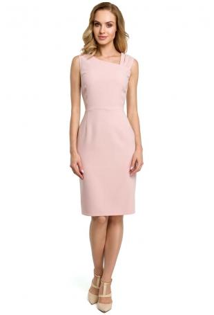 Pudrowa Wieczorowa Ołówkowa Sukienka z Ciekawym Dekoltem