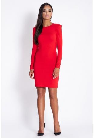 Czerwona Dopasowana Koktajlowa Sukienka Ołówkowa z Długim Rękawem