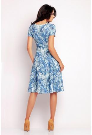 Niebieska Klasyczna Sukienka Letnia z Krótkim Rękawem