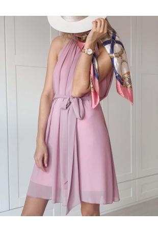 Różowa Zwiewna Koktajlowa Sukienka z Dekoltem Halter na Stójce