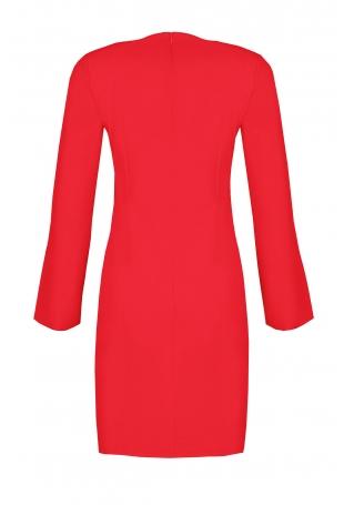 Czerwona Sukienka Koktajlowa Mini z Rozciętym Rękawem