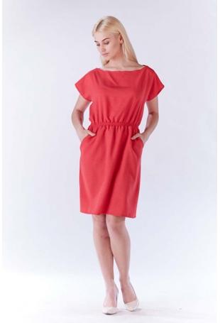 Różowa Sukienka z Gumkami w Talii z Kimonowym Rękawkiem