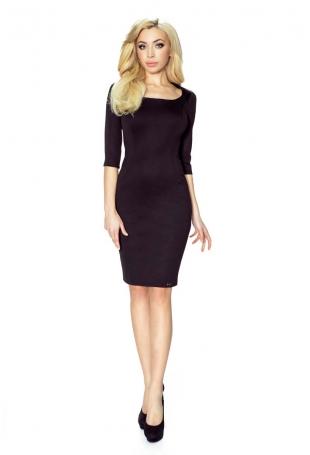 Czarna Sukienka Elegancka z Dekoltem Karo