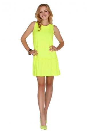 Żółta Sukienka z Obniżonym Stanem Wiązana na Plecach
