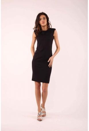 Czarna Elegancka Sukienka bez Rękawów o Dopasowanym Fasonie