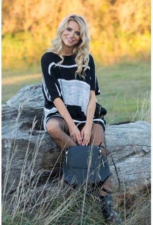 Czarna Swetrowa Oversizowa Sukienka -Tunika w Paski