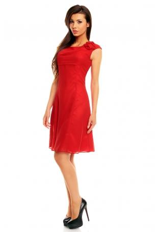 Wytworna i Elegancka Sukienka Midi z Drapowaną Różą