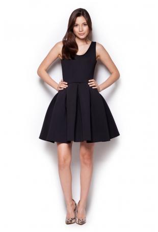 Czarna Rozkloszowana Sukienka Mini z Dekoltem V na Plecach