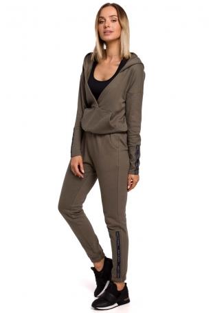 Dresowe Spodnie z Logowanym Lampasem - Khaki