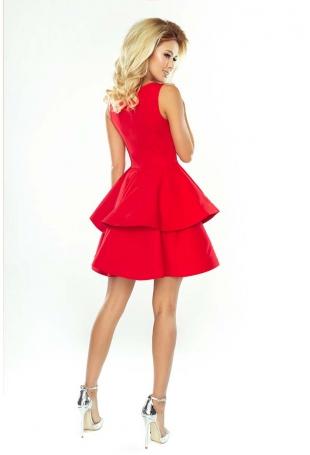 Czerwona Sukienka Rozkloszowana z Podwójną Falbanką