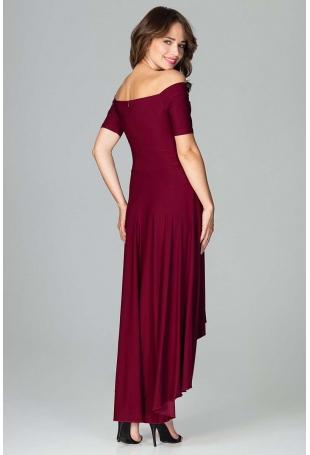 Bordowa Długa Asymetryczna Sukienka z Odkrytymi Ramionami