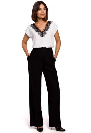 Czarne Stylowe Spodnie na Gumie z Szerokimi Nogawkami.