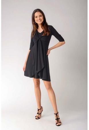Czarna Rozkloszowana Dwuwarstwowa Sukienka z Marszczonym Rękawem